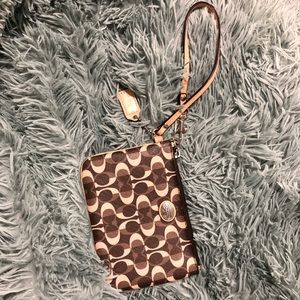 Coach Wristlet - Brown and Beige